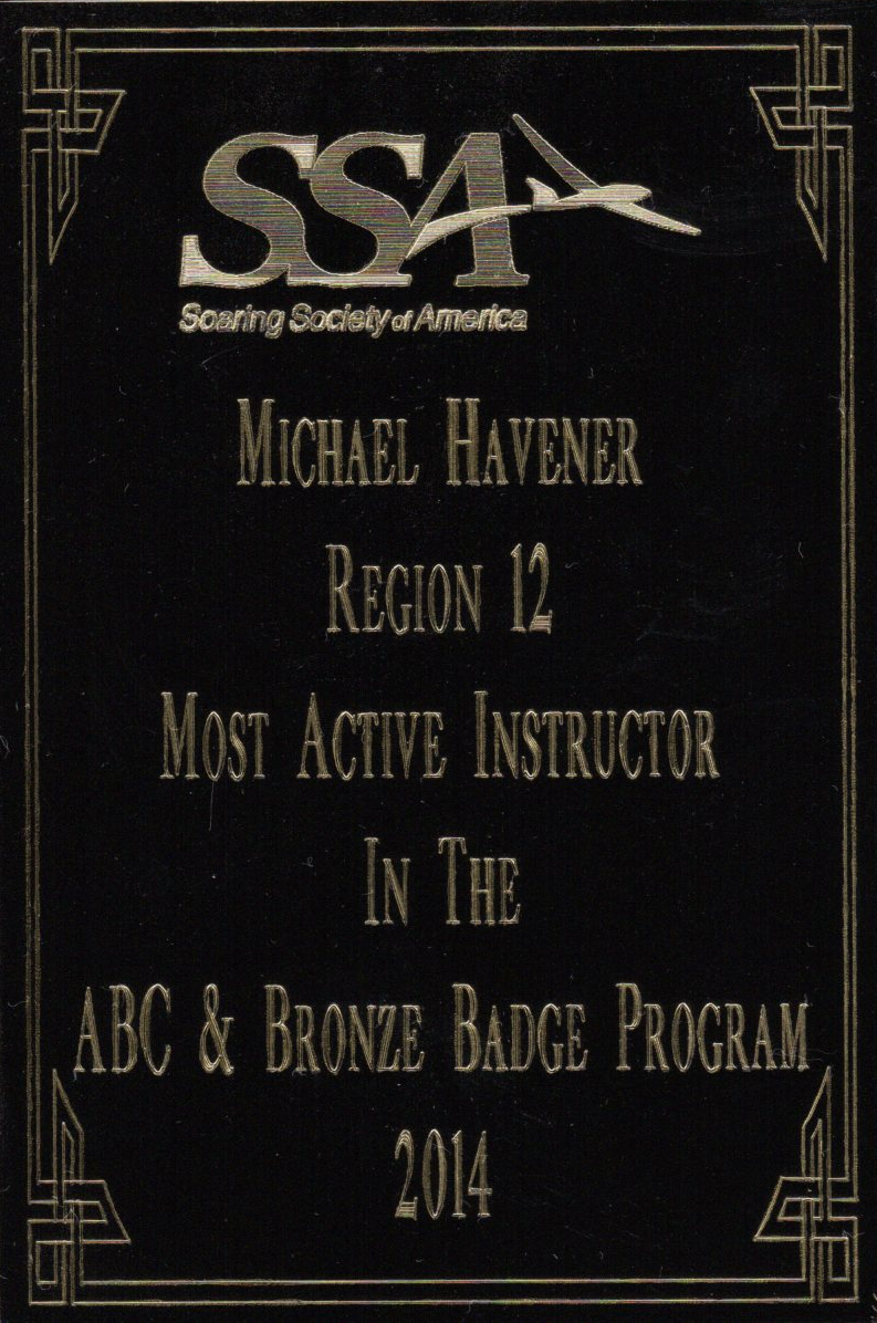 2014 Top Producing SSA Instructor for Region 12 award